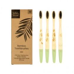 Brosses à dents vertes Bambou Medium - Wild&Stone WILD&STONE - 1